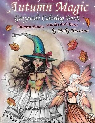 £10.89 • Buy Autumn Magic Greyscale Fairies Witches Adult Colouring Book Fantasy Mystical Art
