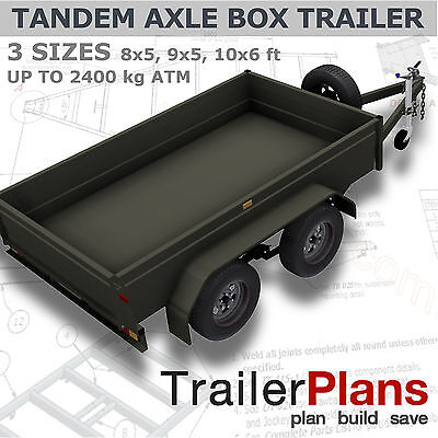 AU54.15 • Buy Trailer Plans - TANDEM BOX TRAILER PLANS - 8x5, 9x5, & 10x6ft - PLANS ON CD-ROM