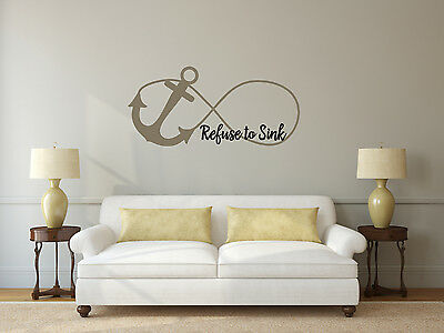 Refuse To Sink Anchor Infinity - Vinyl Wall Art Decal - Christian Religious • 12.90£