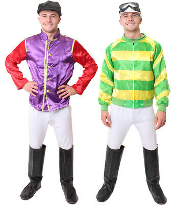 Adult Jockey Costume Mens Horse Racing Fancy Dress Top Trousers Goggles Boots • 19.99£