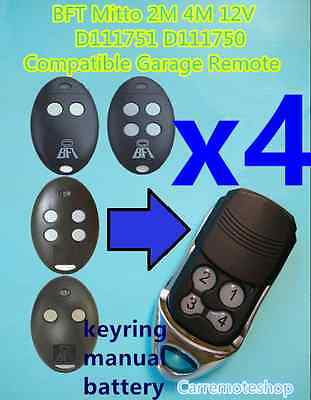 AU50 • Buy 4x BFT Mitto 2M 4M 12V D111751 D111750 Compatible Garage/Gate Remote