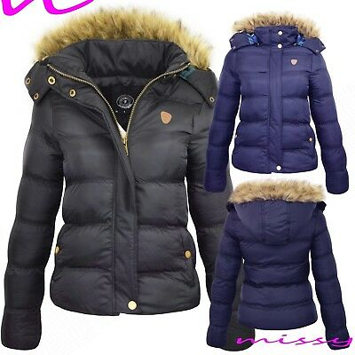 New Womens Ladies Quilted Winter Coat Puffer Fur Collar Hooded Jacket Parka Size • 22.99£