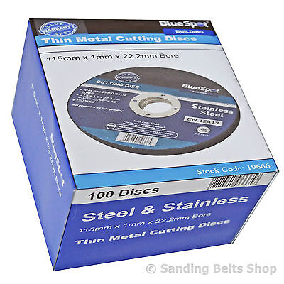 £54.99 • Buy 100 X BLUE SPOT 115mm STAINLESS STEEL METAL CUTTING DISCS 4.5  Only 1mm
