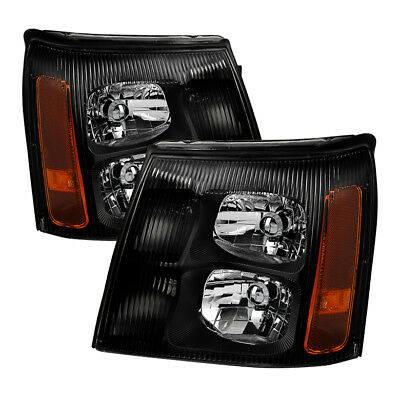 $189 • Buy Cadillac 02 Escalade Base / EXT Black Housing Replacement Headlights Pair