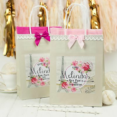 £1.95 • Buy Personalised Hen Party Gift Bags | Paris | Lace & Bow Birthday Wedding Favour