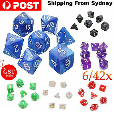 AU19.99 • Buy 7/42X Polyhedral Dice For Dungeons Dragons DND RPG D20 D12 D10 D8 D6 Game Party
