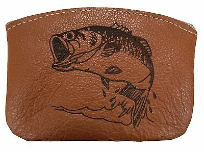 $14.95 • Buy New Leather Engraved Largemouth Bass Zippered Coin Pouch Change Purse USA Made