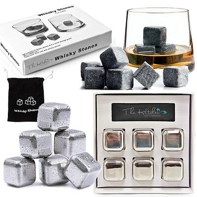 £6.95 • Buy Whiskey Stones - Bar Whisky Chilling Cooling Rocks Reusable Steel Ice Cubes