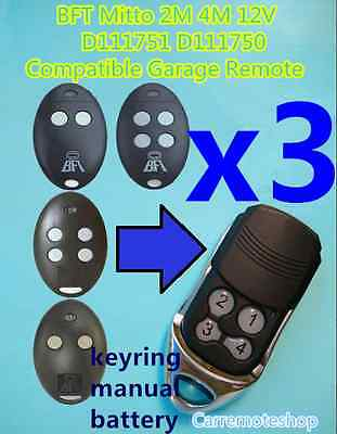 AU37 • Buy 3x BFT Mitto 2M 4M 12V D111751 D111750 Compatible Garage/Gate Remote