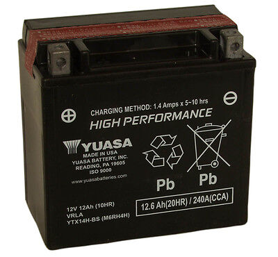 Genuine Yuasa YTX14H-BS Motorcycle Battery, High Performance Version Of YTX14-BS • 84.95£