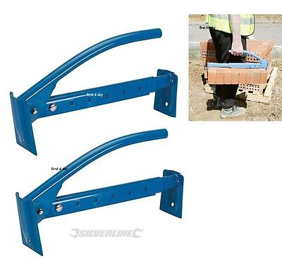 £29.99 • Buy Silverline 2x Adjustable Brick Tongs Lifter 6-10 Bricks Lifting Carrying Carrier