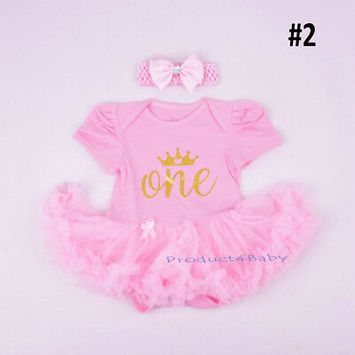 AU19.75 • Buy Baby Girl First 1st Birthday Party Tutu Dress 2ps Set Romper + Headband Outfit