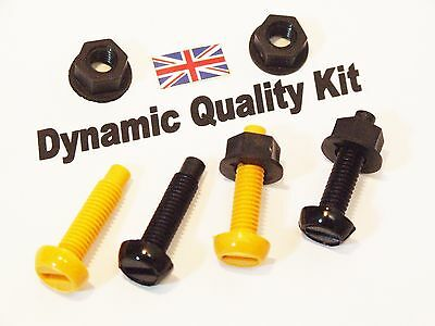 £1.45 • Buy Yellow & Black Plastic Rear Number Plate Nuts & Bolts Screws Fitting Fixing Kit