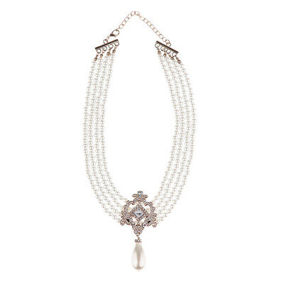 £6.93 • Buy Lady Gold Tone Multi-strand Chain Faux Pearl Cameo Pendant Choker Necklace