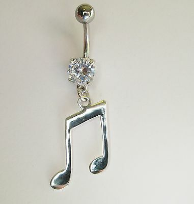 925 Sterling Silver Music Note On Dangle Belly Bar - 6mm,8mm,12mm, 14mm, 16mm • 5.99£
