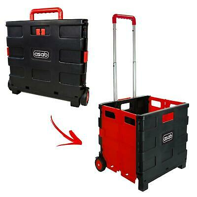 Large Folding Boot Cart Shopping Trolley Rolling Storage Box Tidy Pull Handle • 19.95£