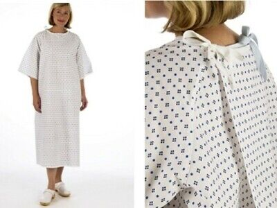 UNISEX NHS Wrap Over White Hospital PATIENT GOWN, Reusable Dignified Night Dress • 7.20£