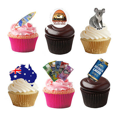 £1.99 • Buy 33 Stand Up Australia Aussie Themed Edible Wafer Paper Cake Toppers