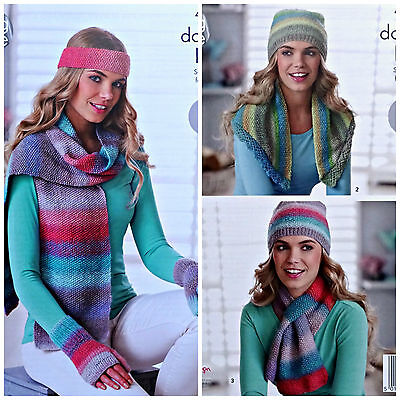 KNITTING PATTERN Ladies Easy Hat Scarf Hat Gloves &Neck Warmer DK King Cole 4694 • 3.95£