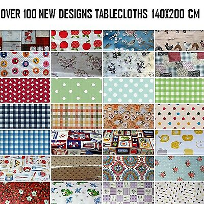 WIPEABLE TABLECLOTH  PLASTIC VINYL OILCLOTH TABLE COVER PROTECTOR 140 X 200 Cm  • 12.50£