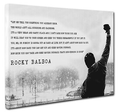 Rocky Balboa Canvas Wall Art Print Picture Movie Film Quote A1 Size (51x76cm) • 18.95£