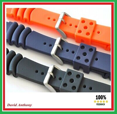 18mm To 22mm DIVERS PU RUBBER WATCH STRAP FOR SEIKO.CURVED VENT Z18, Z20, Z22 • 5.95£