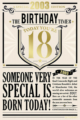 18th Birthday Card 2002 Year You Were Born Male Newspaper Style Design Card • 3.95£