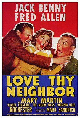 AU26.85 • Buy LOVE THY NEIGHBOR Movie POSTER 27x40 Jack Benny Fred Allen Mary Martin Verree