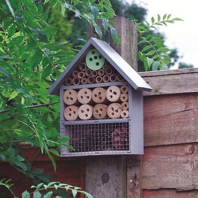 £12.90 • Buy Large Insect Bee House Bug Wooden Hotel Natural Wood Shelter Garden Nest Box NEW