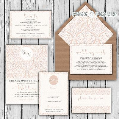 Personalised Luxury Rustic Wedding Invitations Blush Damask Lace Packs Of 10 • 2.76£
