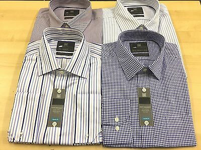 Ex M&S  PURE COTTON Mens CHECK&STRIPE Shirt Long Sleeve Non Iron Performance • 9.99£