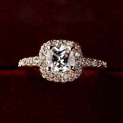 $8.99 • Buy Micro-inlay Cushion CZ Silver/Rose Gold Engagement Wedding Solitaire Ring SZ 6-8