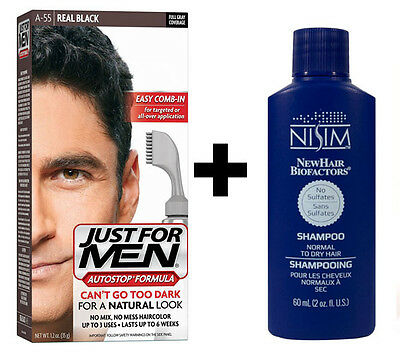 £14.99 • Buy Just For Men AutoStop Mens Hair Colouring Dye REAL BLACK A55 Nisim Shampoo 60ml