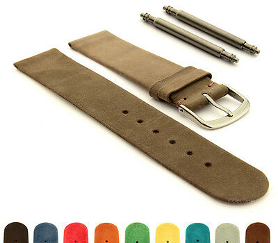 Suede Genuine Leather Watch Strap Band SS. Buckle 12 14 16 18 20 22 Malaga MM • 10.45£