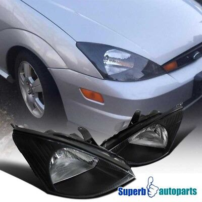 $74.98 • Buy For 2000-2004 Ford Focus Assembly Headlights Lamps Black Pair Left+Right