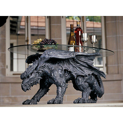 Glass-Topped Fierce Dragon Sculptural Coffee Centerpiece Hand Painted Table • 463.74£