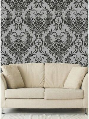Debona Damask Medina Flock Effect Silver Black Luxury Feature Wallpaper 4002 • 11.85£