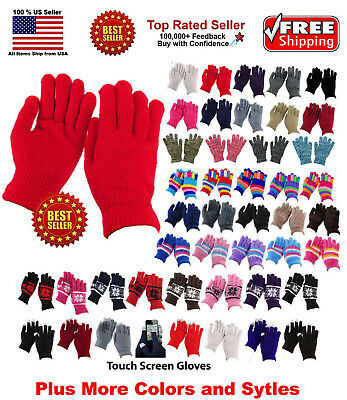 $5.99 • Buy Men Women Winter Warmer Knit Knitted Casual Gloves Stretch One Size Many Styles