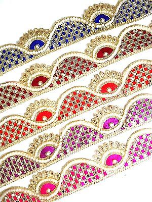 NEW Gold Pearl Embroidery Indian Sari Border Lace Ribbon Trim Ethnic Craft • 3.49£