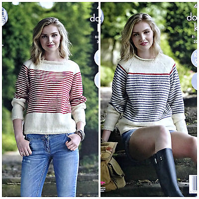 KNITTING PATTERN Ladies Easy Knit Long Sleeve Striped Jumpers DK King Cole 4746 • 3.95£