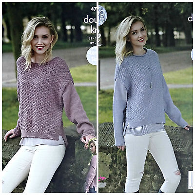KNITTING PATTERN Ladies Long Sleeve Boat Or Roll Neck Jumper DK King Cole 4749 • 3.95£
