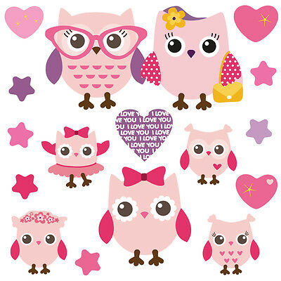 Children's Cute Pink Owl Wall Stickers PinkyFamily Owls.1.M • 8.94£