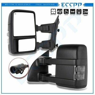 $133.99 • Buy For 99-07 Ford F250-F550 SuperDuty Towing Mirrors Pair Power Heated Turn Signal