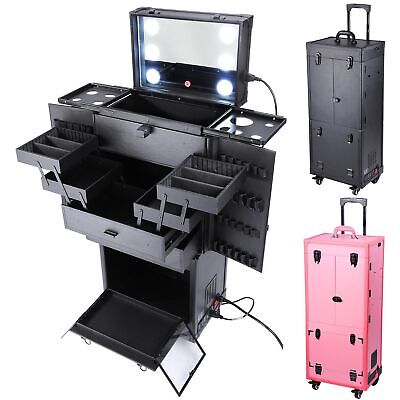 $299.90 • Buy Professional Rolling Makeup Trolley Cosmetic Case Lockable Studio Light Mirror