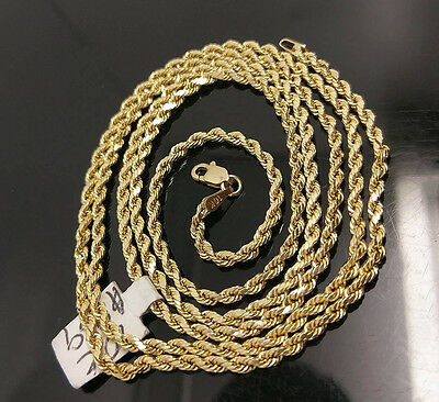 $228.23 • Buy 10K Gold Chain Solid Men Women Real Rope 3mm 18 20 22 24 26 28 Inch REAL