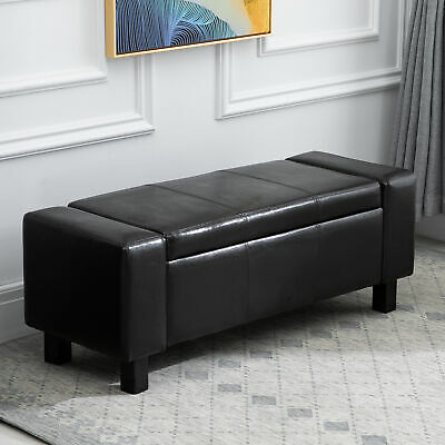HOMCOM Ottoman Storage Chest Faux Leather Stool Bench Seat Home Furniture Black • 69.99£