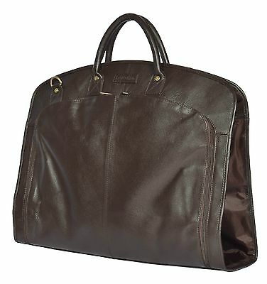 BROWN Real Leather Suit Carrier Dress Garment Cover Soft Travel Cabin Bag HANZ • 148£