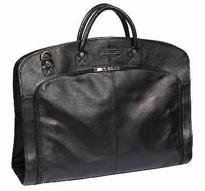 BLACK Real Leather Suit Carrier Dress Garment Cover Soft Travel Cabin Bag HANZ • 148£