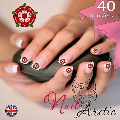 40 X Nail Art Water Transfers Stickers Wraps Decals  England Tudor Rose • 1.99£
