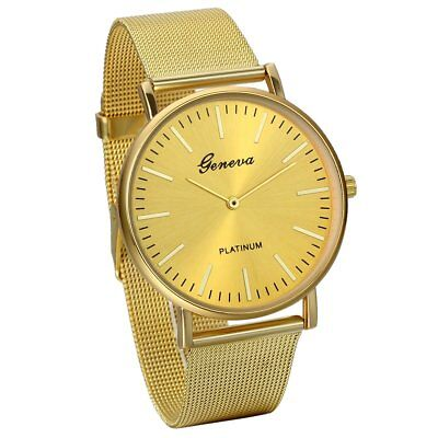 $ CDN14.51 • Buy Luxury Gold Men's Analog Slim Mesh Stainless Steel Dress Wrist Watch Waterproof